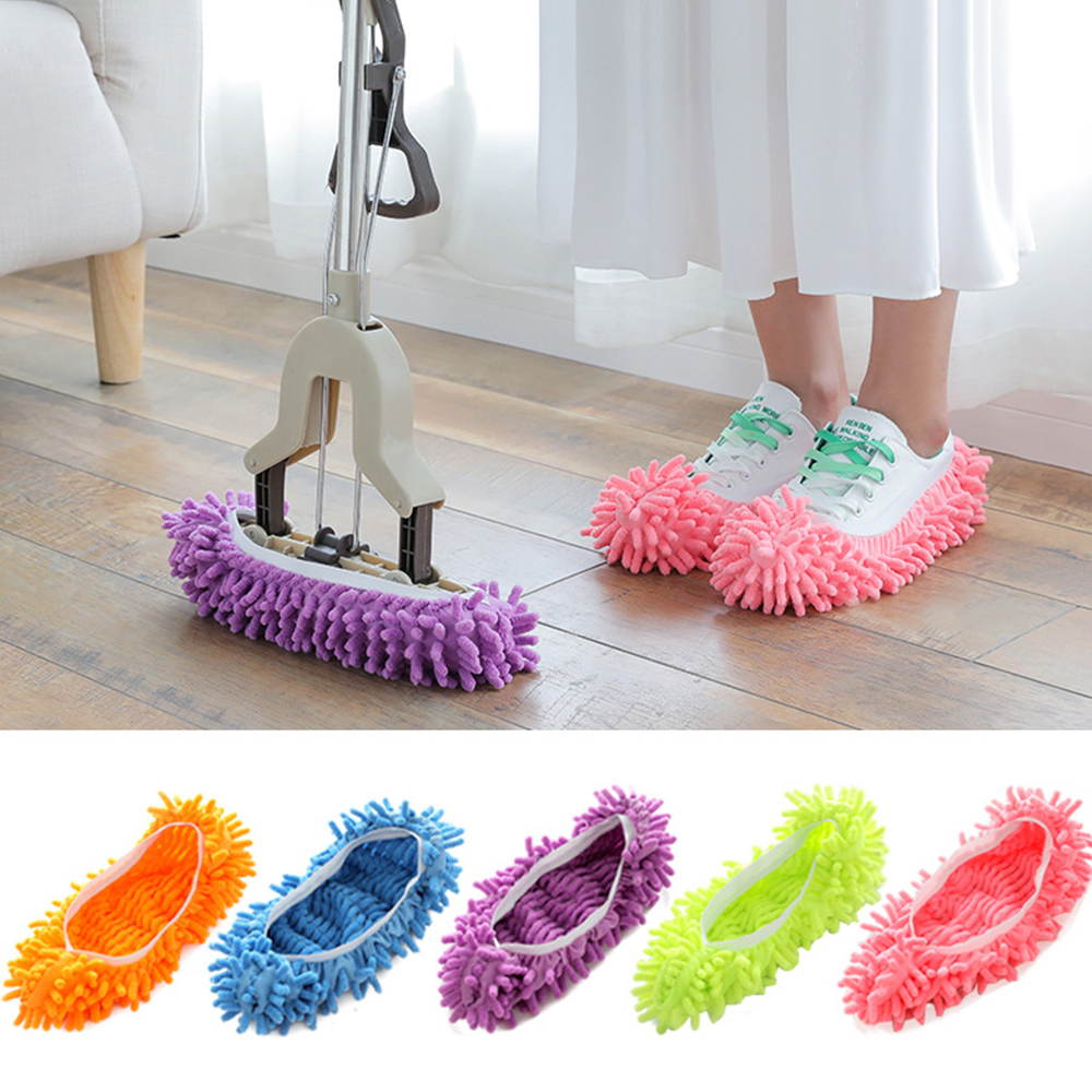 Chenille Lazy Shoe Cover Mop Hood Mopping Floor Shoes Slipper Sets (Single Price)(China)