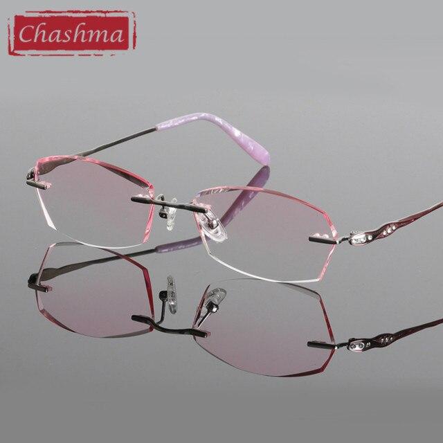 Chashma Titane Mode Femme Lunettes Diamant Coupé Sans Monture Montures de lunettes  Femmes Monture de lunettes bf4e742e78ce
