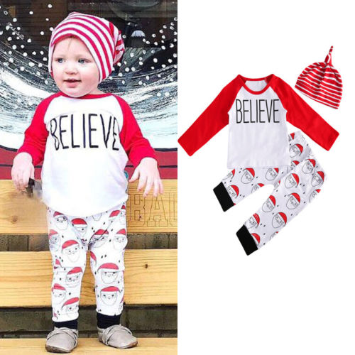 3pcs christmas clothes newborn santa baby boys girls kids casual t shirt topslong pants outfits 0 24m clothing sets in clothing sets from mother kids on - Christmas Clothes For Kids