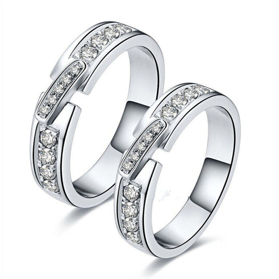 Sterling Silver Couple Rings Synthetic Diamonds Semi Mount Engagement Rings  For Lovers White Gold Color Brilliant