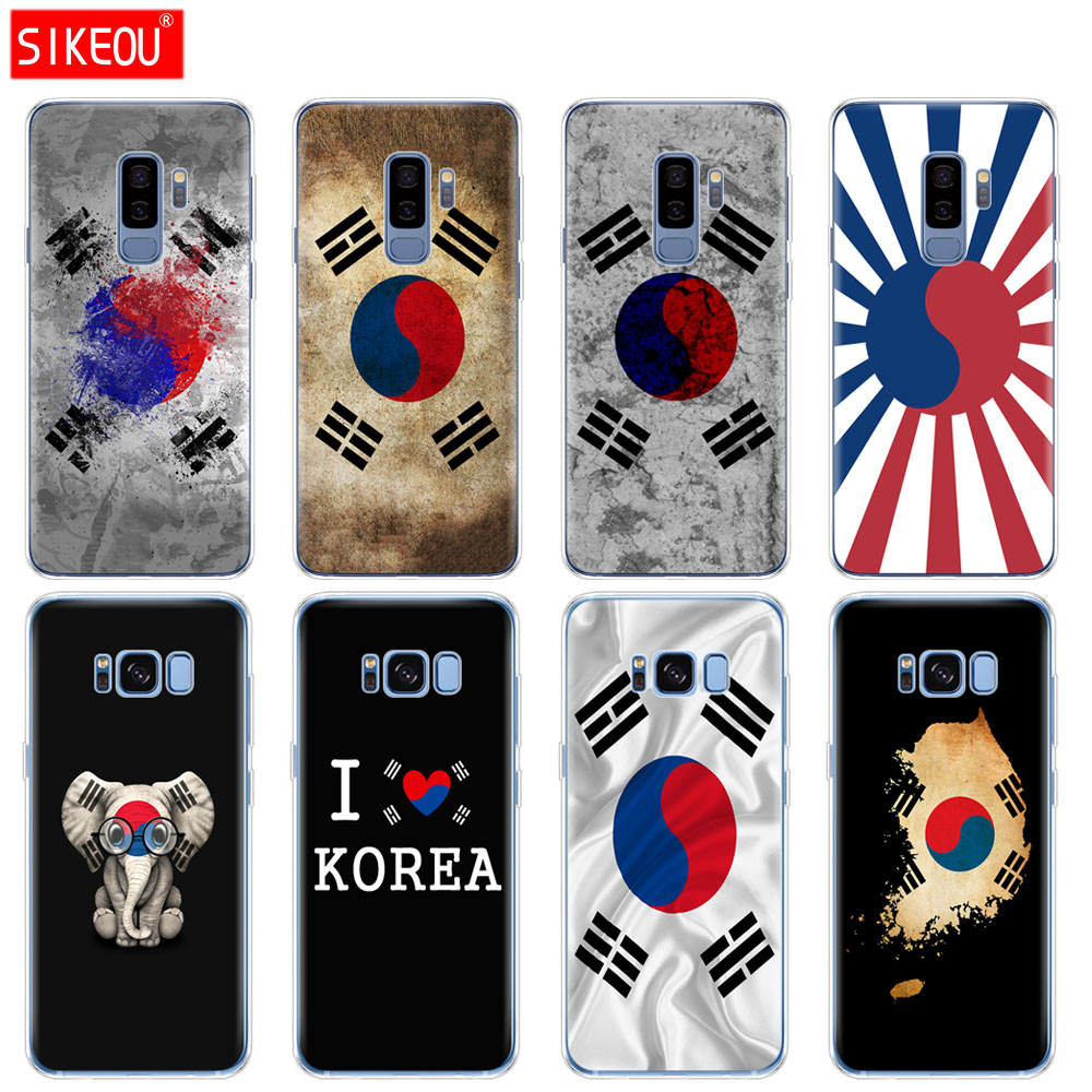 silicone <font><b>case</b></font> for <font><b>Samsung</b></font> Galaxy S9 <font><b>S8</b></font> S7 S6 edge S5 S4 S3 PLUS phone cover <font><b>Korean</b></font> Flag image