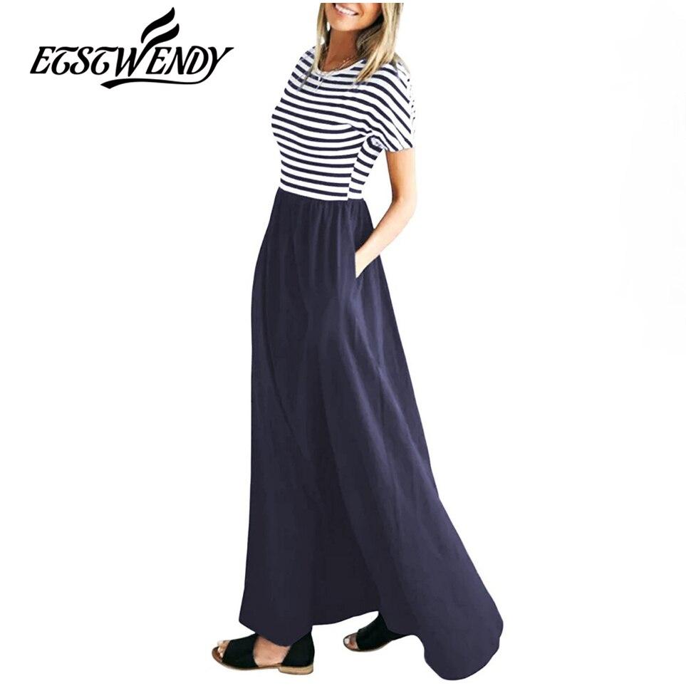 Summer 2019 O-Neck Short Sleeve Maxi Dress Casual Women Black Striped Dress Elegant Women Clothes Sexy Streetwear Long Dresses