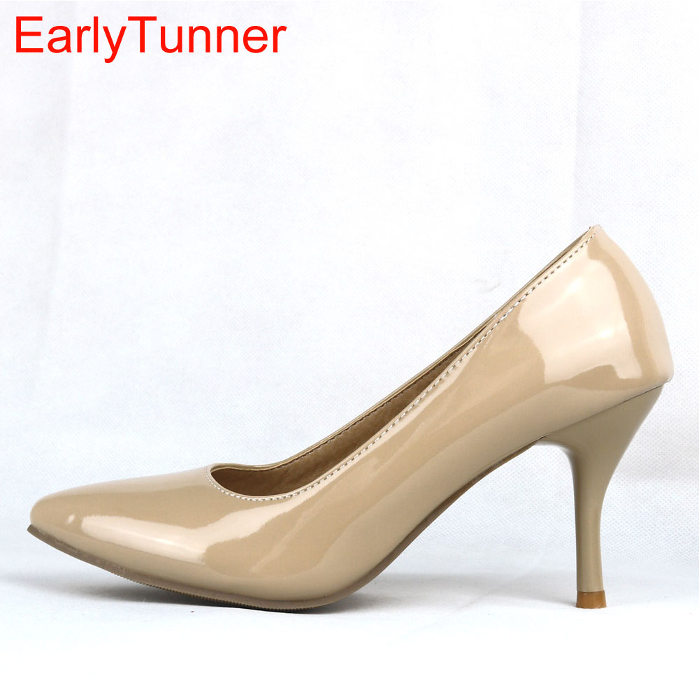 Brand New Sexy Black Naked Red High Heels Women Nude Glossy Pumps Ladies Normal Fashion Shoes EA3 Plus Big Size 43 12 30 47 brand new hot sales women nude ankle boots red black buckle ladies riding spike shoes high heels emb08 plus big size 32 45 11