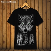 Personality 3D animal pattern printing group wolf fashion short sleeve t-shirt Summer 2017 soft breathable quality t shirt men