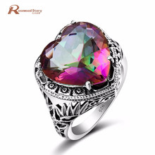 Elegancki pierścień z sercem ogień Rainbow mistyczny Topaz CZ kamień biżuteria ślubna 925 srebro pierścionek zaręczynowy obietnica miłość pierścienie