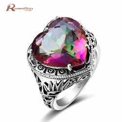 Elegant Heart Ring Fire Rainbow Mystic Topaz CZ Stone Wedding Jewelry 925 Sterling Silver Ring Engagement Promise Love Rings