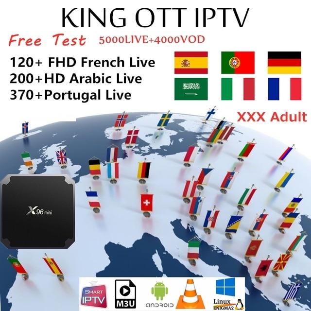 Rey OTT francés iptv de suscripción para Francia árabe España Portugal nórdicos apoyo adulto M3u Enigma2 inteligente X96MINI Android TV Box