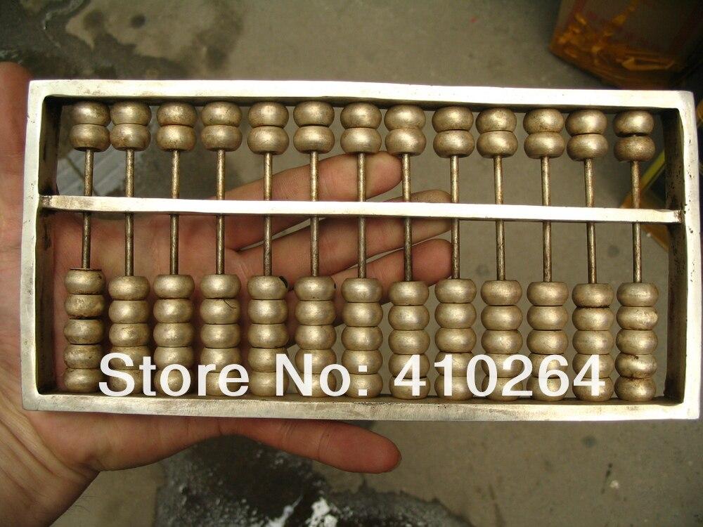0116 P [vieux métier] expédition Rapide 13 nombre Chine classique calculatrice boulier argent Statues (A0314)