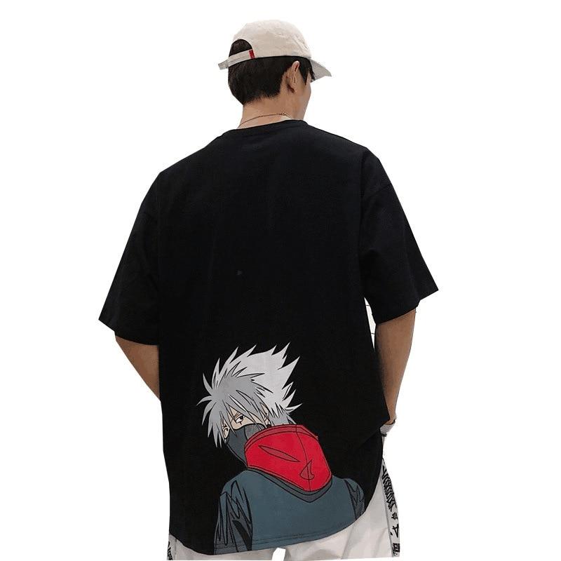 Harajuku Men Anime Naruto Uchiha Sasuke Print Tee Shirt Summer Streetwear Short Sleeve T Shirt Male Loose Clothing Tops Tee