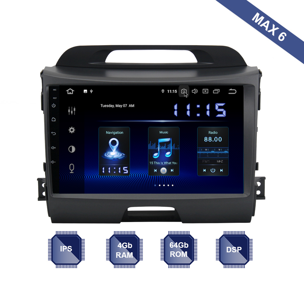 Android 9 0 Car Radio 2 Din GPS Navi for Kia Sportage R 2011 2012 2013
