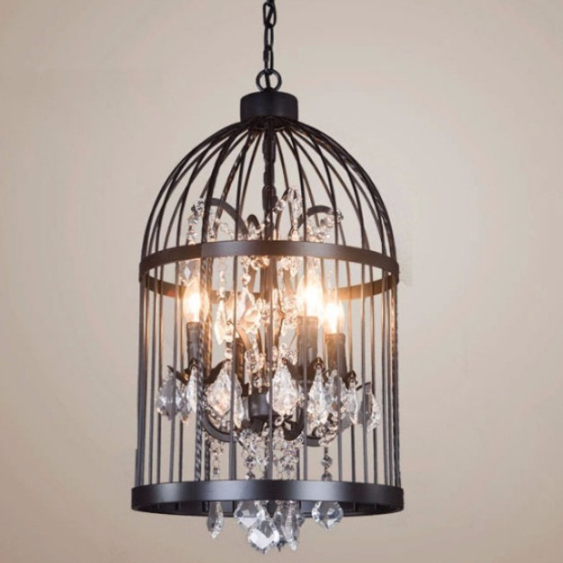 купить American Birdcage Chandelier Crystal Light Loft Metal Vintage Chandelier Lamp 110V-220V GLT009C-35 Free Shipping недорого