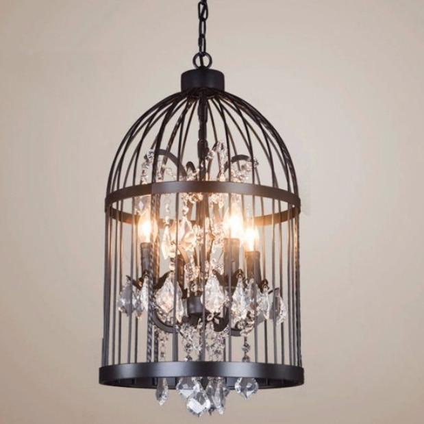 American Birdcage Chandelier Crystal Light Loft Metal Vintage Chandelier Lamp 110V-220V GLT009C-35 Free Shipping