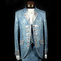 Blue Royal Mens Period Costume Medieval Renaissance Stage Performance Prince Charming Fairy Tale William Colonial Stage