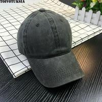 TOIVOTUKSIA Black Adult Unisex Casual Washed Solid Adjustable Baseball Caps Snapback Hats For Men Women Baseball