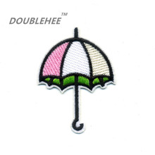 DOUBLEHEE 5cm*6.8cm Embroidered Iron On Patches Small Umbrella Design Motif Embroidery diy Cloth Bags Shoes Accessories Applique