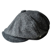 Newsboy Caps Movie star Retro HERRINGBONE TWEED cap Driving Men Wool Fleece Hat,