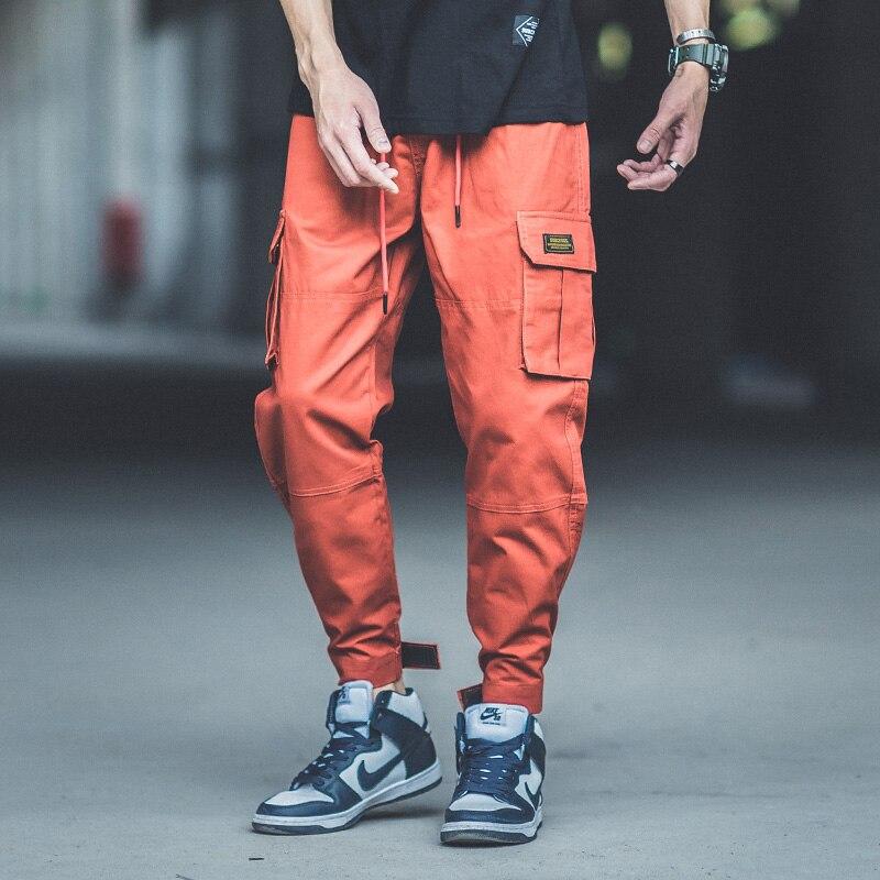 2018 Fashion Streetwear Mens Jeans Multi Pockets Cargo Pants Japanese Style Loose Fit Jogger Pants Punk Style Hip Hop Jeans Men