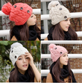 free shipping warm winter fashion female hat knitting beanies with 3 buttons winter knitted hats wholesale