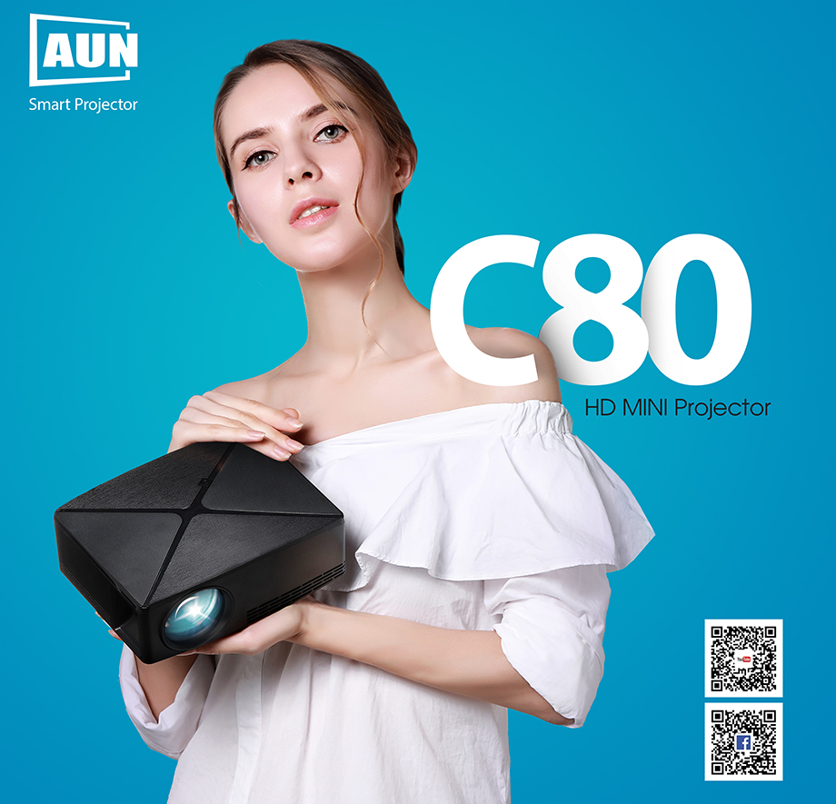 AUN C80/C80UP Android WIFI Mini Projector With 1280x720 Pixels Resolution and 3D Beamer 1