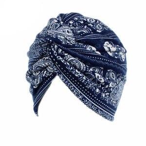 Image 2 - Мусульманские женщины хлопок Цветочный Цветок вязанный тюрбан шапка шарф Рак химиотерапия шапочка при химиотерапии головной убор аксессуары для волос