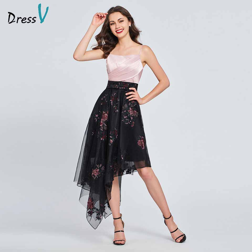 Dressv homecoming dress spaghetti straps pleats ruffles sleeveless a line print zipper up homecoming&graduation dresses