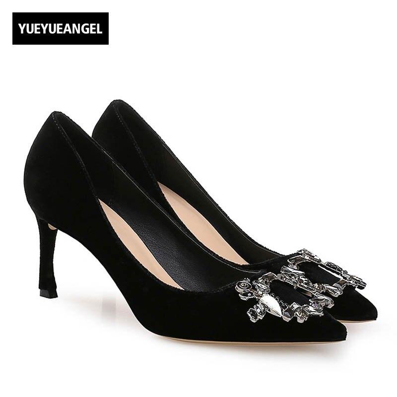 цены Italian 2018 New Women Genuine Leather Pumps Elegant Ladies Office Work Party Crystal High Heels Shoes Retro Slip On Stilettos