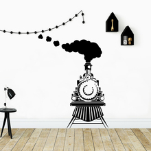 Cartoon Style train Vinyl Kitchen Wall Stickers Wallpaper for Company School Office Decoration Background Sticker Decal