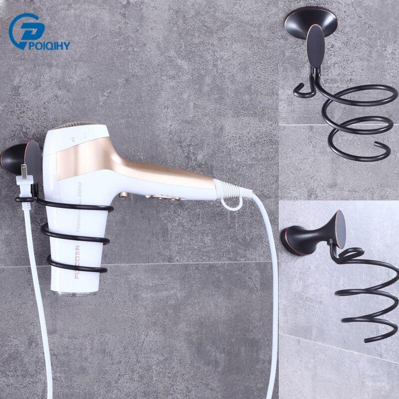 POIQIHY Free Shipping Bathroom Hair Dryer Holder Solid Brass ORB Wall Mounted Hair Dryer Rack Wall Storage Rack Shelf Decoration