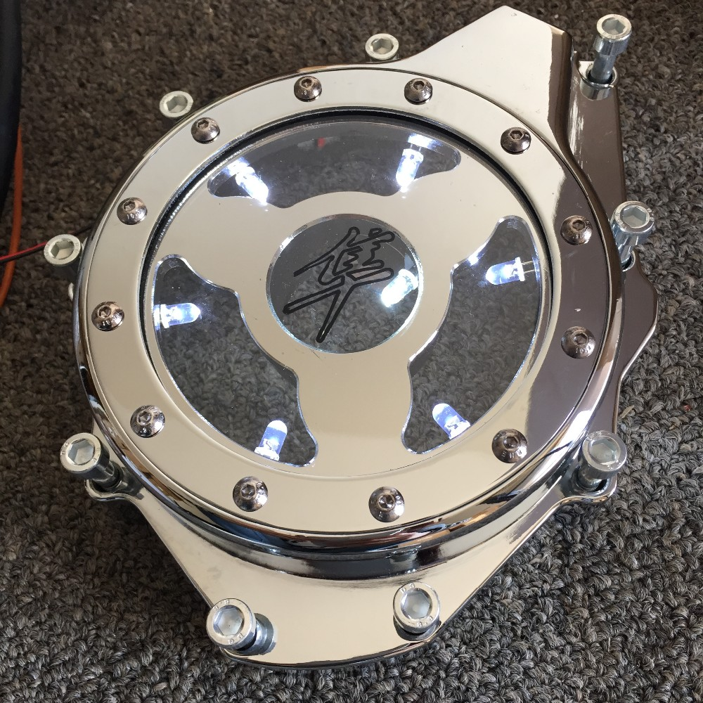 Aftermarket free shipping motorcycle accessories Aluminum Billet Engine Stator cover see through for Suzuki 2005-2008 GSXR1000 aftermarket free shipping motorcycle parts billet engine stator cover for honda cbr600rr f5 2007 2012 chrome left