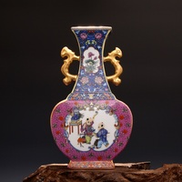 Jingdezhen Ceramic Qing Yong Zheng Year Antique china porcelain Double Eeared Enameled Gilt Square Flat Vase