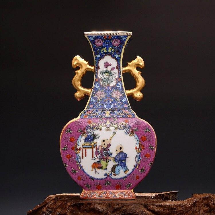 Geschickt Jingdezhen Keramik Qing Yong Zheng Jahre Antiken China Porzellan Doppel Eeared Emaillierten Gilt Platz Flachen Vase Halten Sie Die Ganze Zeit Fit Vasen