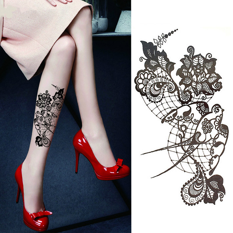 1PC Sexy Lace Hot Black Sea Swallow Flower Henna Temporary