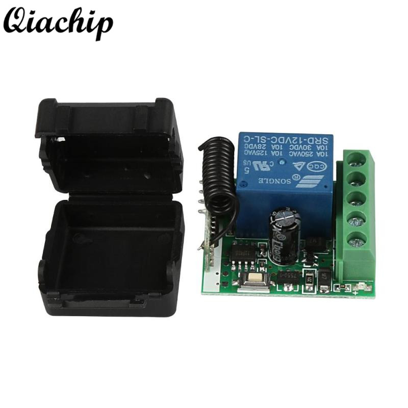 QIACHIP 433MHz DC 12V 1CH Wireless Remote Control Switch RF Relay Receiver 433 MHz Transmitter Learning Button Module Diy Kit