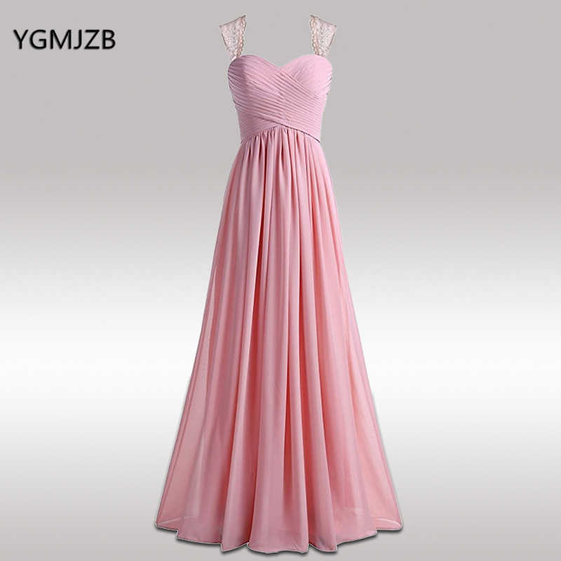 217eb56b47a ... about Long Bridesmaid Dresses 2017 A Line Sweetheart Cap Sleeve Chiffon  Pink Wedding Party Dresses for Bridesmaids Open Back Prom Gown on  Aliexpress.com ...