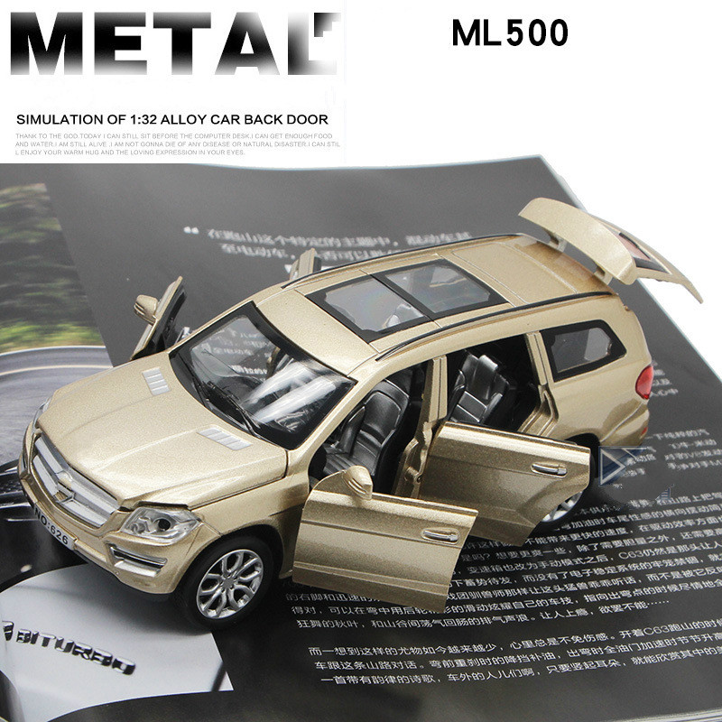 For Mercedes Benz ML 500 Alloy Car Model Toy Light Music Pull Back Six doors Design 1:32 Toys for Children Adult Car Collections