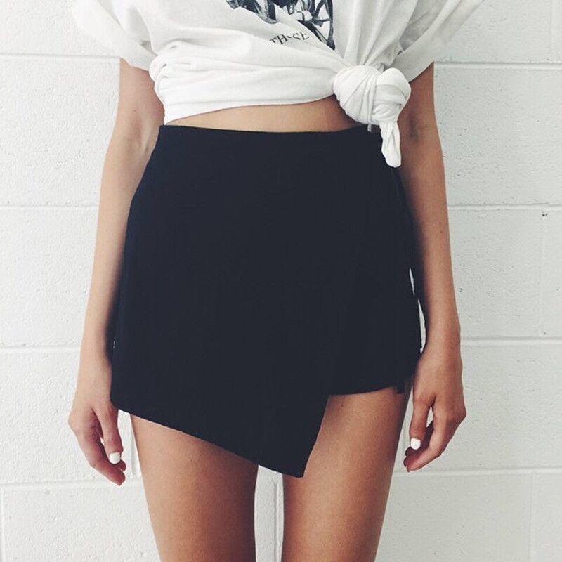 2019 Women's Shorts Summer Skirt Shorts Thin Elastic High Waist  Solid White Black Camel Women Fashion Shorts On Sale
