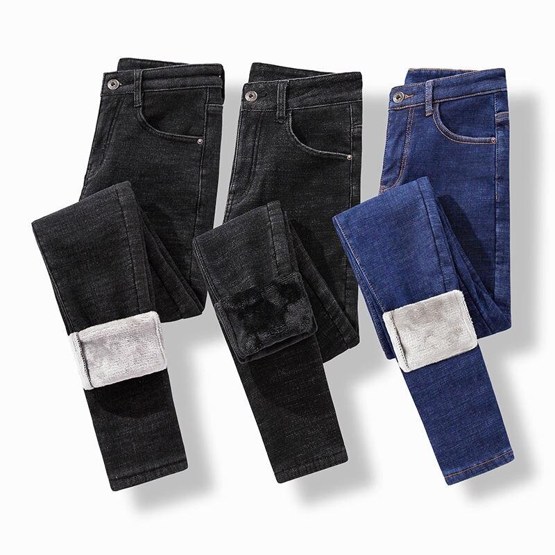 Plus Velvet Warm High Waist   Jeans   Pants Women Slim Vintage Stretch Denim   Jeans   Pencil Pants Femme Autumn Winter Black   Jeans   Z32