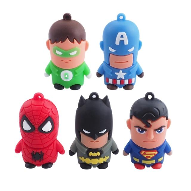 Cartoon Superman USB Flash Drive Pen Drive 4 GB 8 GB 16 GB 32 GB 64 GB USB 2.0 Spiderman Capitán América USB Memory Stick disco