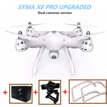 SYMA X8 PRO GPS Drone Rc Quadcopter Auto Return With 1 stock Camera and one 4k HD Action Camera Dual Gimbal High Landing Gear