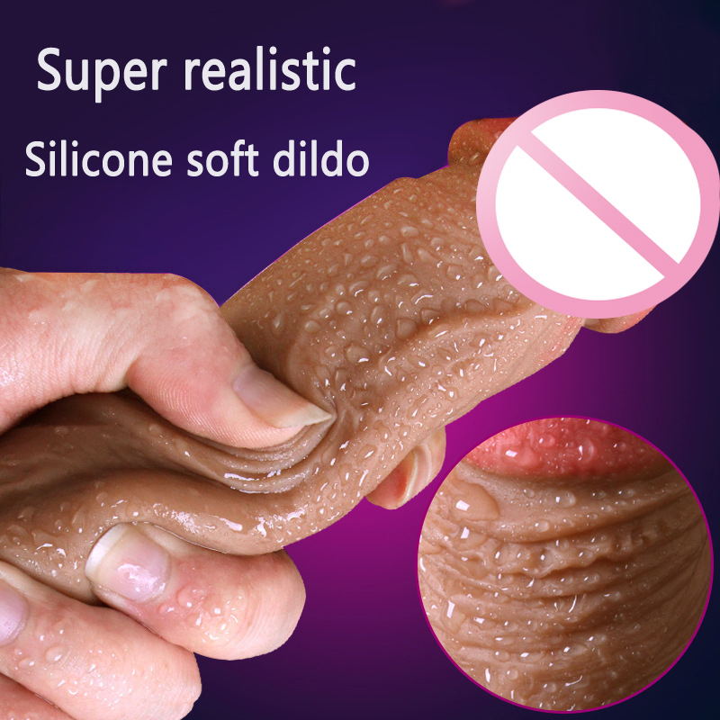 Super Realistic Soft Silicone Dildo Suction Cup Male Artificial Penis Dick Woman Masturbator Adult Sex Toys Dildos For Women auto handfree retractable piston pricky male masturbation cup for men penis massage aircraft cup passion cup adult sex products
