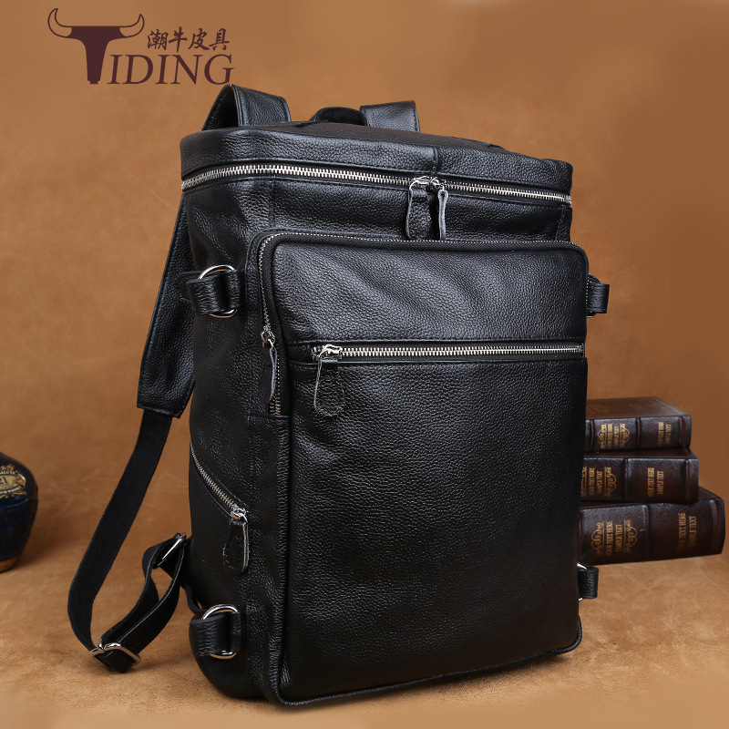 man backpack new 2017 high quality Genuine Leather Fashion Men Luxury Male Bag Waterproof Laptop Messenger Travel Backpack bags padieoe 2017 genuine leather new fashion men luxury male bag high quality waterproof laptop messenger travel backpack school bag