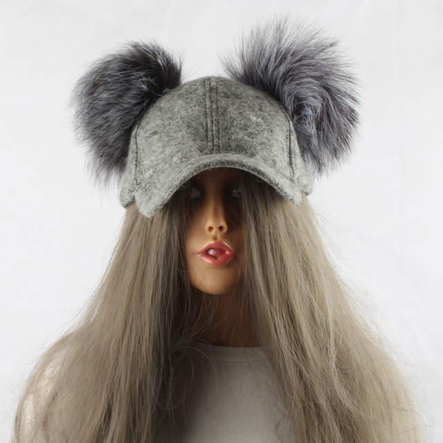 placeholder FURANDOWN Real Silver Fox Fur Pompom Hat For Kids Women Cartoon Two  Pom Poms Baseball Caps 419c8d891