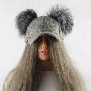 Image 2 - Real Silver Fox Fur Pompom Winter Hat For Women Kids Cartoon Two Pom Poms Baseball Caps Brand Snapback Hip hop Hat Cap