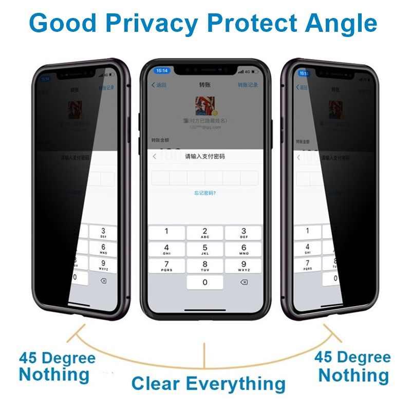 Tongdaytech metal magnético vidro temperado privacidade caso do telefone ímã 360 capa protetora para o iphone xr xs 11 pro max x 8 7 plus