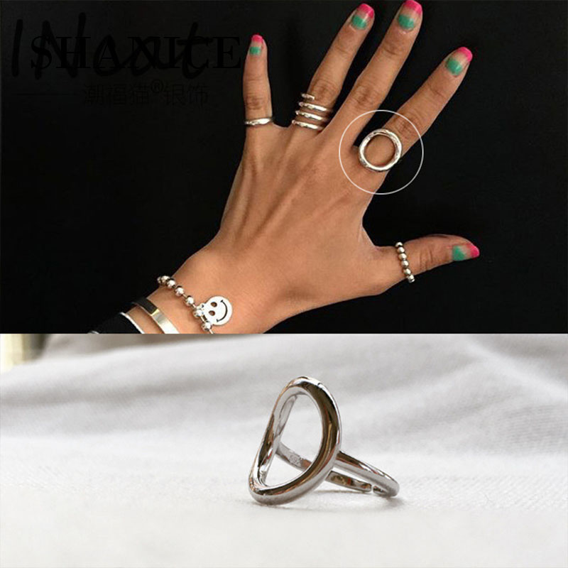 86222ca9c Shanice S925 sterling silver Open Ring Geometric Hollow Big Circle for Women  Girl Knuckle Ring Jewelry