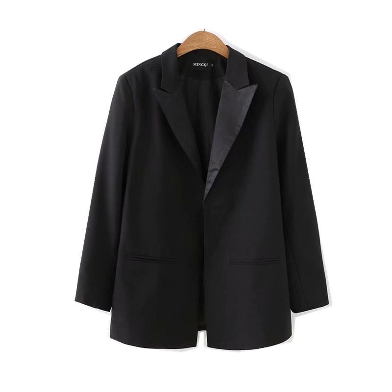 Frauen Kleidung & Zubehör Blazer Sparsam Plus Größe Freund Schwarz Mid Lange Blazer 2018 Frau Kerb Kragen Langarm Lose Anzug Casual Jacke Mantel