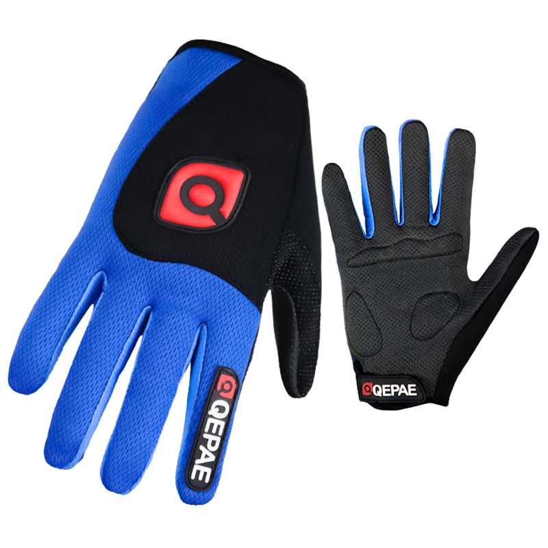 Qepae Shockproof Cycling Gloves Full Finger Gloves Men Women Anti Slip Bike Gloves With GEL Breathable Sports Black Red Blue qepae 043a outdoor cycling half finger gloves black red l pair