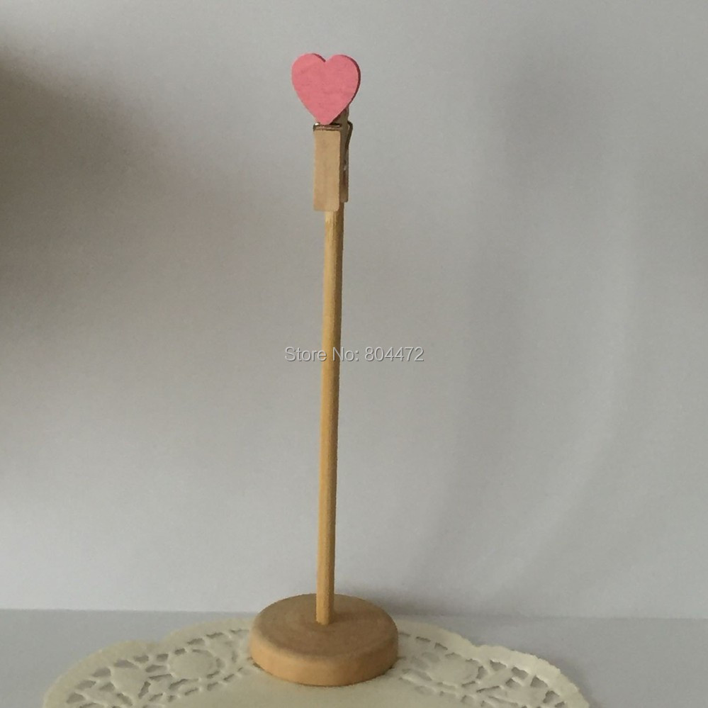Us 200 30x Wood Pink Heart On Top Clothespins Stick Stand Base Clip Card Table Number Stand For Chic Rustic Wedding Girl Baby Shower In Party Diy