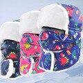 2016 Prevenir neblina Niebla Niño sombreros De piel de Invierno A Prueba de Viento de Espesor botas de nieve caliente invierno casquillo del cabrito Cara Máscara niño niñas ciclismo sombrero