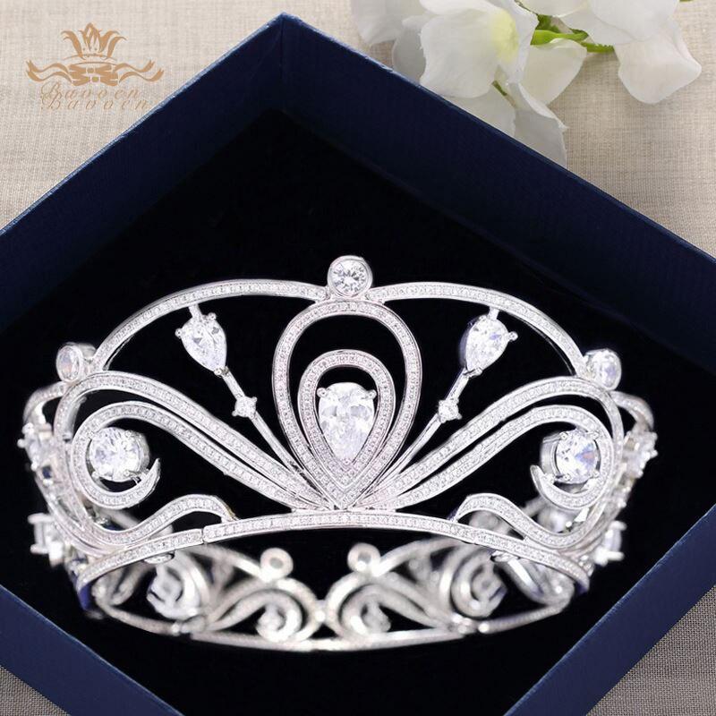 Bavoen Haut-fin Haute qualité Mousseux Zircon Diadème De Mariée Couronne De Mariée Bandeaux De Cheveux De Mariage Accessoires